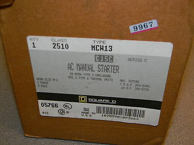 Square D 2510MCW13 Push Button Manual Motor Starter, Enclosure NEMA Rating 4 NIB