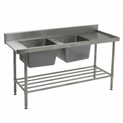 Simply Stainless Double Sink with Right Dishwasher Inlet 1650x700x900mm