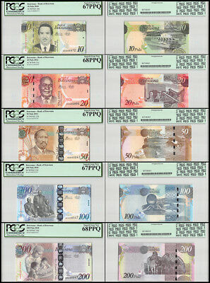 Botswana 10 - 200 Pula 5 PCS Full Set, 2010-12, P-30-34, PCGS 67-68, 2ND
