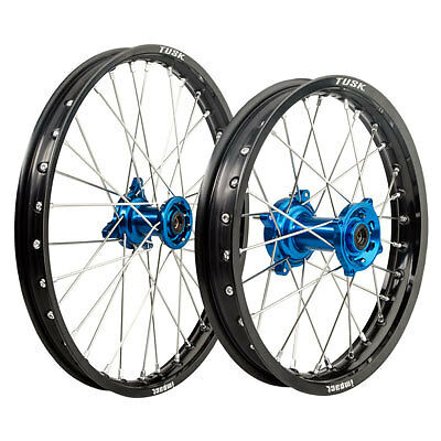 Tusk Impact Complete Front/Rear Wheel Kit-YZ80-YZ85 1993-2017 Black w/Blue Hub