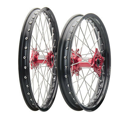Tusk Impact Complete Front/Rear Wheel Kit-Honda CRF150R 07-17 Black /Red Hub