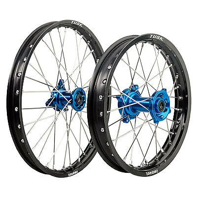 Tusk Impact Complete Front/Rear Wheel Kit-Kawasaki KX85/KX100 Black /Blue Hub