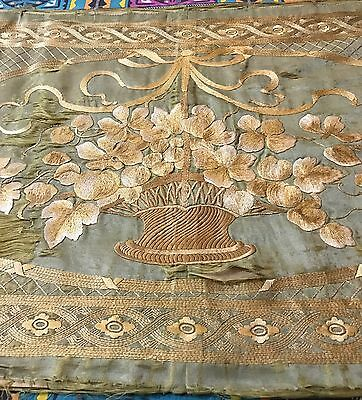 Antique Chinese Hand Embroidered Large Silk Panel Qing Dynasty 19th C.