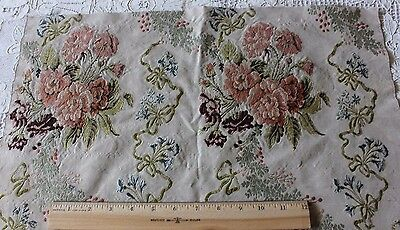 Beautiful 18thC (1700s) French Silk Brocaded Fabric Textile~Roses,Ribbons & Bows