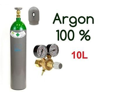 NEW 100% Argon FULL Bottle Cylinder 10 Liter 200 Bar Pure Welding Gas Regulator