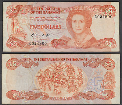 Bahamas 5 Dollars L. 1974 (1984) Banknote (VF) Condition P-45a QEII