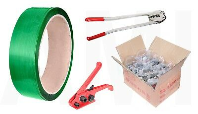HEAVY DUTY PALLET BANDING STRAPPING KIT 16mm WIDE STRONG ROLL 2000 CLIPS / SEALS