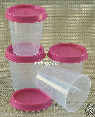 Tupperware Minis / Midgets Set (4) Clear & Pink Punch Seals New