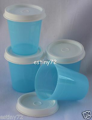 Tupperware Minis / Midgets Set (4) Saltwater Taffy Blue & White Seals New