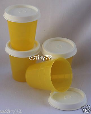 Tupperware Minis / Midgets Set (4) Sunny Yellow & White Seals New