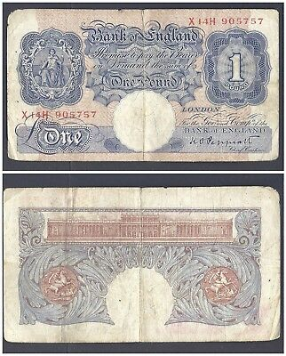 Great Britain 1 Pound 1940 in (VG-F) CRISP Banknote P-367 (X14H) RARE SERIAL
