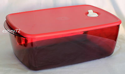 Tupperware 3.7L Large Deep Rectangle Vent N Serve / Heat N Eat Popsicle Red New