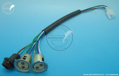 Head light wiring harness Double lights 15 mm base 4 PIN plug moped Scooter Znen