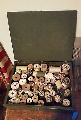 Vintage Wooden Thread Spools and Storage Box