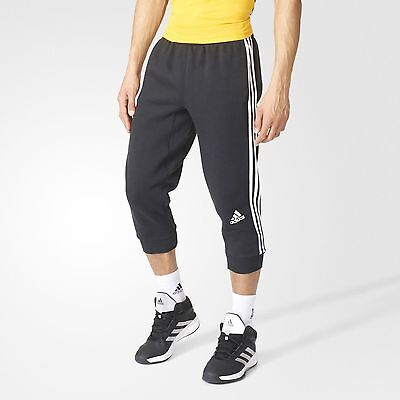 NEW MEN'S ADIDAS 3-Stripes Slim 3/4 Three-Quarter Pants - AY5283 - Black/White