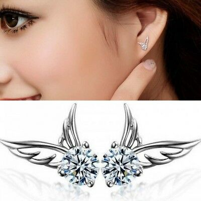 UK Womens Angel Wing Earrings 925 Sterling Silver Crystal Studs Ear Stud Fashion