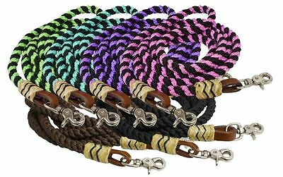 Showman 8' BARREL REINS Braided and Rolled Nylon with Rawhide Accents & Snaps