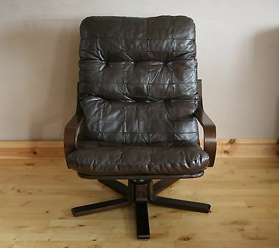 Vintage Retro Mid Century Danish Patchwork Leather Armchair / Chair.