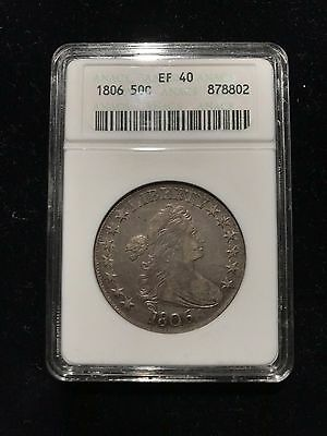 1806 Pointed 6 No Stem Draped Bust Half Dollar ANACS CHOICE XF40 Overton Variety