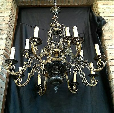 Vintage Large Antique French 12 Arms metal gold Chandelier with cherubs 1940s