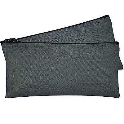 DALIX Bank Bags Money Pouch Securi Deposit Utility Zipper Coin Bag Gray 2