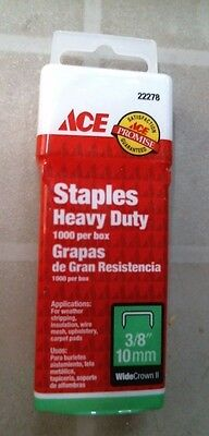 "ACE 22278 Staples Heavy Duty, 1000 box, 3/8"", 10mm, FREE SHIPPING"