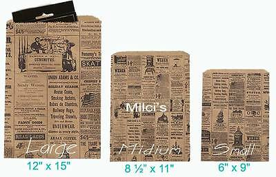 Newspaper print Paper Kraft Bags,Vintage style Craft Bag Available in 3 Sizes
