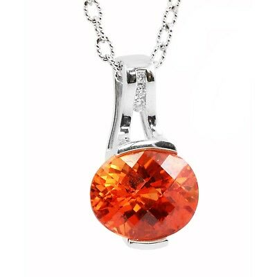 14k white gold oval orange sapphire round diamond pendant necklace 14k white gold oval orange sapphire round diamond pendant necklace padparadscha aloadofball Image collections