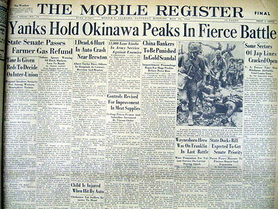 1945 Bound volume w 45 WW II hdline newspapers BATTLE OF OKINAWA Kamikaze Attack