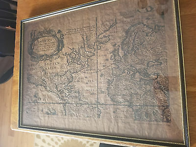 Rare Antique 17th. Century Map of the Path of the Mayflower Christopher Columbus