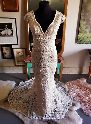 Crochet lace wedding dress with champage lining Ivory lace Custom made to size