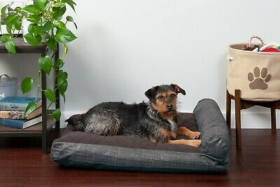 FurHaven Pet Quilted Fleece & Print Suede Chaise Lounge Pillow Dog Bed