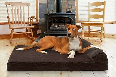 FurHaven Pet Faux Fleece & Corduroy Chaise Lounge Memory Top Sofa-Style Dog Bed