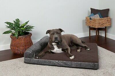 FurHaven Pet Quilted Fleece & Print Suede Chaise Lounge Memory Top Dog Bed