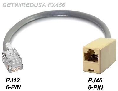 RJ12 RJ11 6P6C 6-PIN MALE to RJ45 CAT5 ETHERNET 8P8C 8PIN FEMALE NETWORK ADAPTER