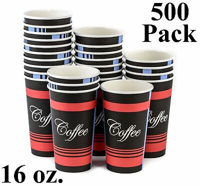 500 Pack 16 Oz. Eco Friendly Poly Paper Disposable Hot Tea Coffee Cups (No Lids)