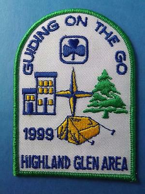 Girl Guides Highland Glen Area Guiding On The Go 199 Vintage Patch Collector
