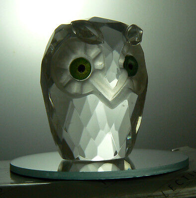 Miniature OWL ornament figurine with mirror by The Crystal Collection - boxed