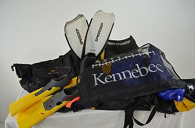 Trout Unlimited Kennebec Fishing Float Tube & 2 Pairs Snorkeling Fins Sz 12-13