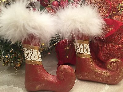 """Red Wooden Elf Shoes White Feathers 4"""" Christmas Ornament Set Lot Of 2  Pier One"""