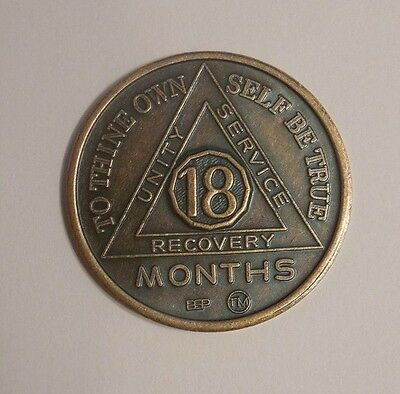 new bronze 18 month  aa alcoholics anonymous chip coin token medallion