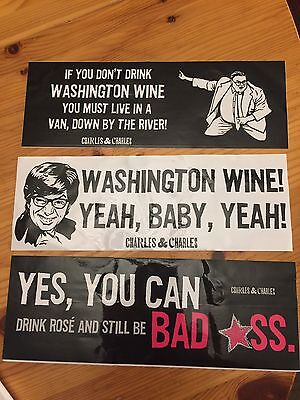 Charles & Charles Wine Bumper Sticker Lot of 3 (Austin Powers, Chris Farley)