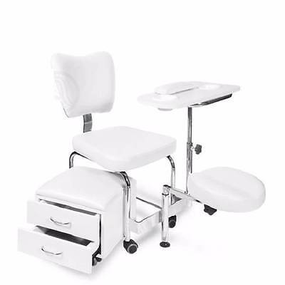 Pedicure Cart Stool Trolley Foot Massage Pedicure Manicure Station White Drawers