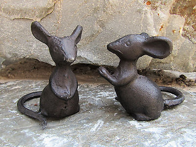 Decorative Rustic Set of 2 Primitive Cast Iron Small Mouse Mice Pair