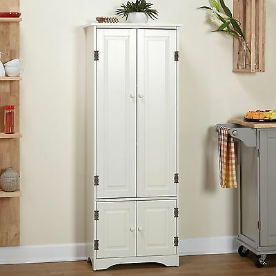 Superbe Simple Living Extra Tall Cabinet, Weathered White Kitchen Pantry Storage  Shelves