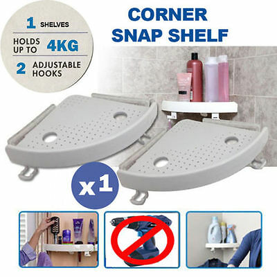 1 x Quick Fix Corner Easy Snap Shelf Grip Up to 4kg Easy Wall Bathroom Products