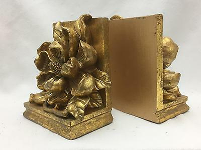 Vintage Magnolia Bookends Gold Very Heavy  Resin?