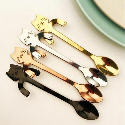 Stainless Steel Coffee Drink Spoon Small Cat Handle Tableware Hanging Flatware
