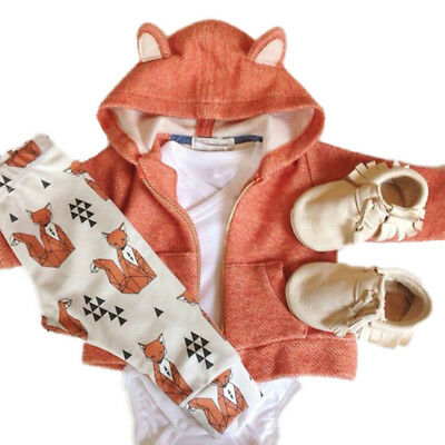 Newborn Baby Boy Little Fox Hoodies Long Sleeve +Pant Cotton Pyjama Outfits 2PCS