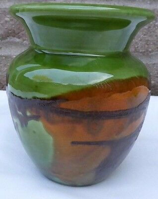"Royal Haeger Vase pottery, 5 1/2"" T Earth Wrap, green, yellow orange peel, brown"